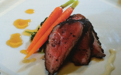 Roasted Coffee Beef with Wilted Spinach and Glazed Baby Carrots
