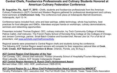 Central Chefs, Foodservice Professionals and Culinary Students Honored at ACF Conference