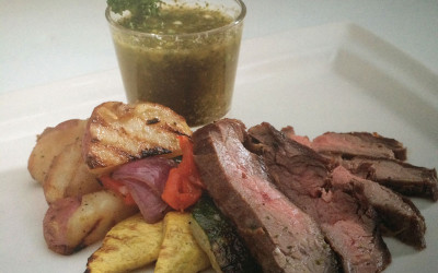 Flame-Grilled Flank Steak with Grilled Vegetables and Chimichurri Sauce
