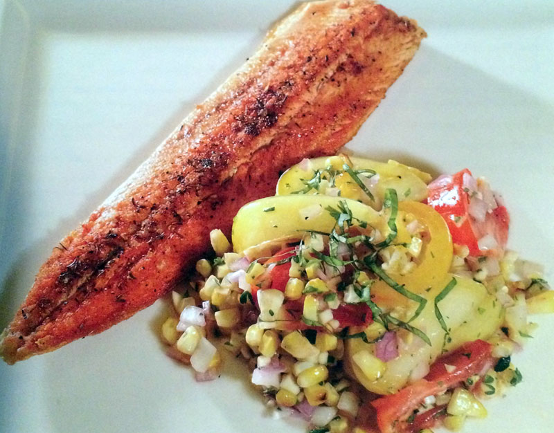 Pan-Seared Trout with Grilled Corn and Tomato Salad