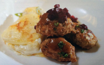 Frikadeller (Danish Meatballs) with Scalloped Potatoes and Pickled Beets